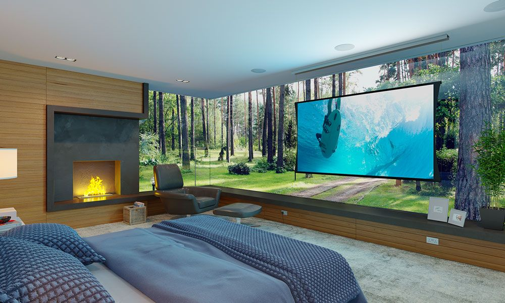 Screen Innovations, Projection, Video, Smart Home Technology, Smart Home System Highland TX, Living Room,  Screen, Audio Video, Large Screen